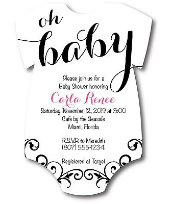 20 Oh Baby Girl Shirt Baby Shower Invitations](Baby Girl Invitations)