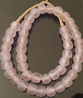 Handmade Ghana Light Pink Krobo recycled Glass African trade Beads-Size