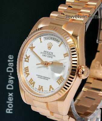 Rolex Day-Date President 18k Rose Gold Roman Dial Mens Watch Box/Papers 118235