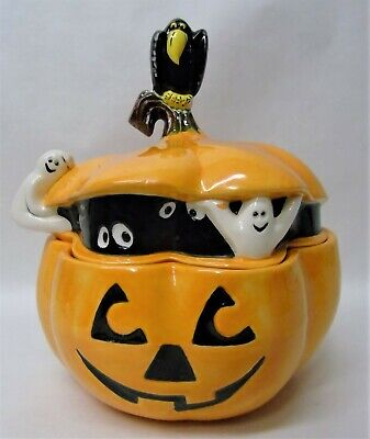 Vintage Halloween Jack O Lantern Ghost & Crow Cookie Jar w207