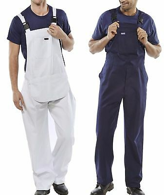 Bib And Brace Overalls Painters Decorators Coveralls Dungarees Diy White Or Blue