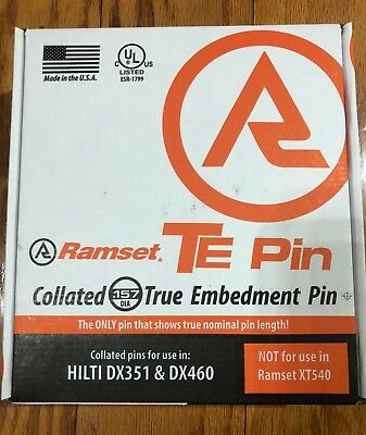 "Ramset TE34X .157 True Embedment TE Pin 3/4"" Fastener 1000 Pc. DX351 DX460 NEW"