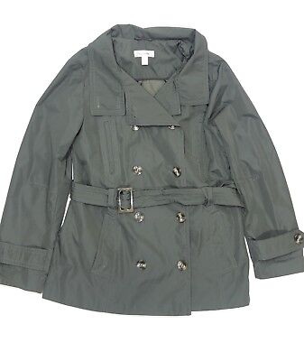 DressBarn Womens Casual Trench Coat Jacket w/ Belt Green Polyester Size Medium for sale  Shipping to India