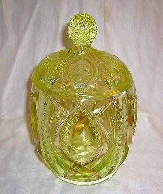 ANTIQUE EAPG PATTERN GLASS GOLD EMBELLISHED VASELINE SUGAR BOWL