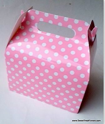 PINK WHITE POLKA SOFT Party Supplies BOXES Birthday Decoration GABLE x12 DOTS - Pink Gable Boxes