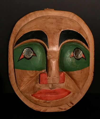 """NORTHWEST COAST CARVED & PAINTED CEDAR """"MOON MASK"""", EXCELLENT CONDITION, SIGNED"""