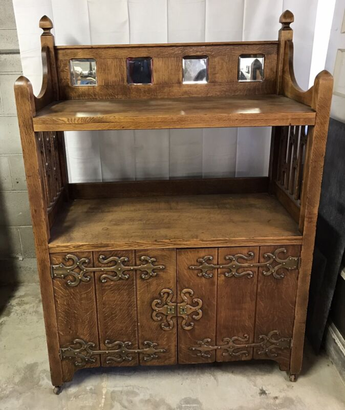 Antique Solid Oak Cupboard Arts And Crafts Beautiful Unique!