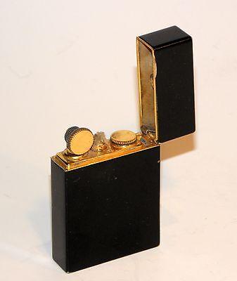 art deco 1939 evans ambassador black lacquer enamel 24k goldplate petrol lighter