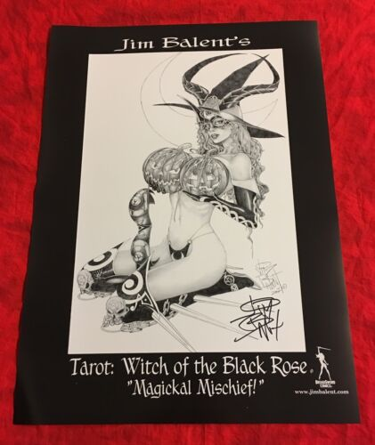 TAROT WITCH OF THE BLACK ROSE~MAGICKAL MISCHIEF~POSTER~HAND-SIGNED BY JIM BALENT