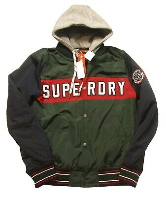 Superdry Men's Green/Navy Upstate Varsity Bomber Jacket