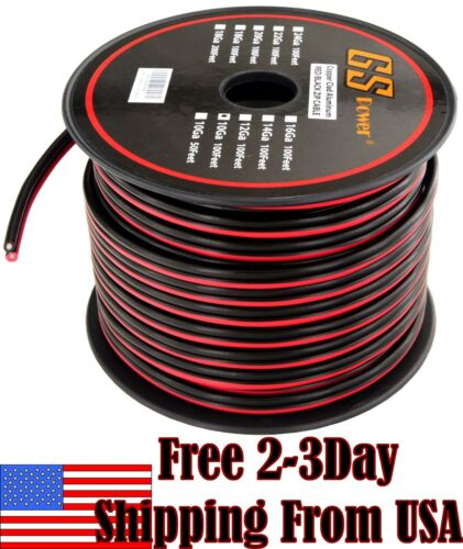 10 Ga Gauge Red Black Speaker Wire 12V Auto Remote Hookup Power Cable CCA 100 FT