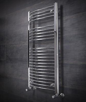 Curved Heated Towel Rail Radiator 1100 x 500 Chrome - 10 YR GUARANTEE