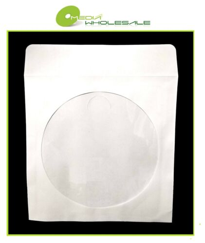 600 CD DVD 80GR White Paper Sleeve with Clear Window and Flap Envelopes