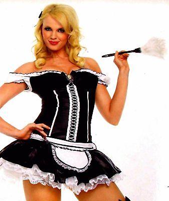 Leg Avenue Naughty French Maid XS Sexy Halloween Costume Cosplay Dress Duster](Naughty Maid Halloween Costume)