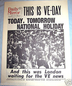 1945-Newspaper-VE-DAY-Daily-Mirror-Old-Antique-Victory-Winston-Churchill-WW2-UK