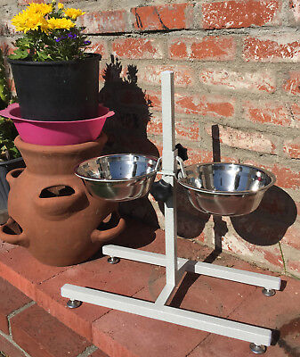 2 Quart Adjustable Raised Double Stainless Steel Dog Diner Bowls Food Water 148