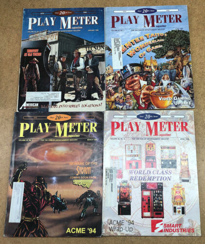 PLAY METER Magazine Lot ~ 4 PLAYMETER ~ from 1994 - Jan, March, April, June
