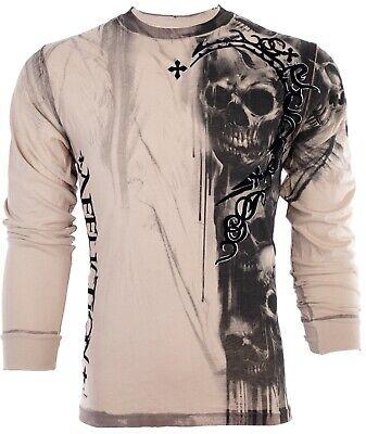 Dead Man Walking T-shirt (AFFLICTION Men LONG SLEEVE T-Shirt WALKING DEAD Skulls SAND Tattoo Biker UFC $68 )