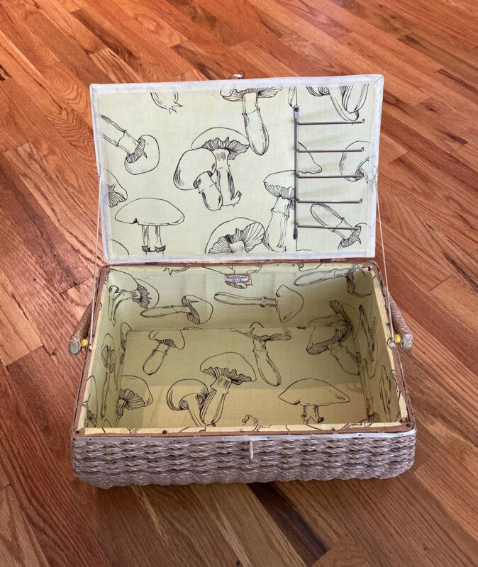 Vintage Dritz Wicker Sewing Basket Made in Japan   Vintage Dritz Mushroom Basket