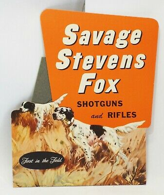 Old SAVAGE STEVENS FOX SHOTGUNS & RIFLES Hunting STORE COUNTER DISPLAY SIGN NOS