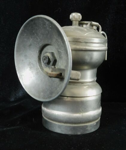 RARE Nickle Plated Antique DEWAR MFG Miners Mine Old Carbide Lamp Lantern ITP
