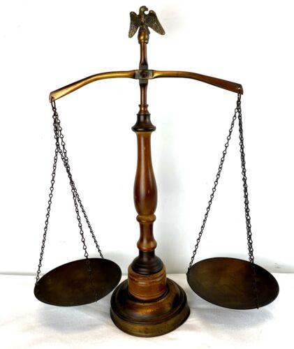 Balance Scale of Justice Eagle Top Wood & Metal Vintage Mid Century Modern