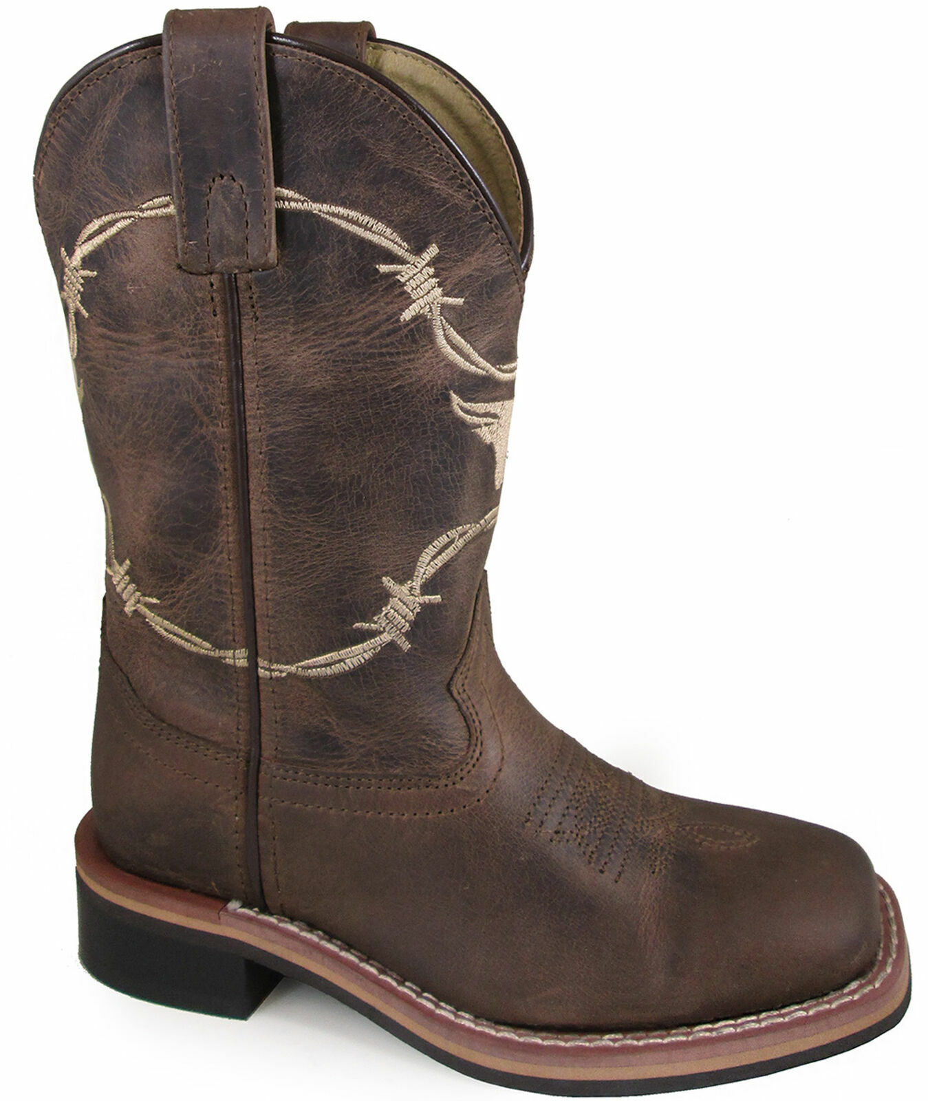Smoky Mountain Childrens Boys Logan Waxed Brown Leather Cowboy Boots 3923C