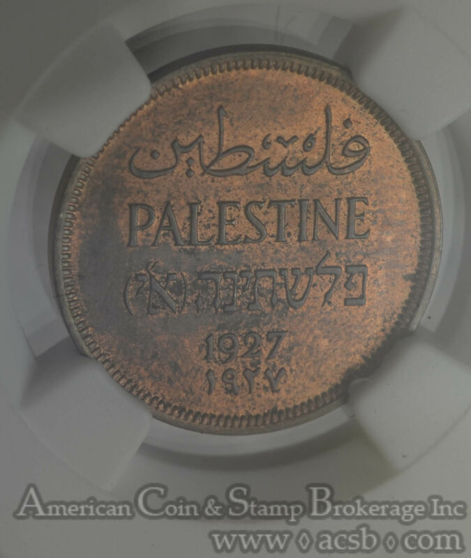 Palestine 1 Mil 1927 MS63 RB NGC bronze KM#1 Red Brown Gem Mostly Red