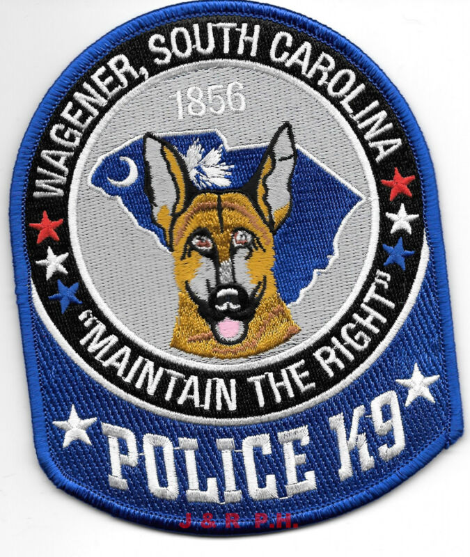 """Wagener  K-9, SC  """"Maintain Right"""" (4"""" x 5"""" size) shoulder police patch (fire)"""