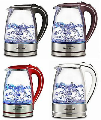 Tempered Glass Coffee Tea Kettle Hot Water Electric Cordless 1 7L Led Light