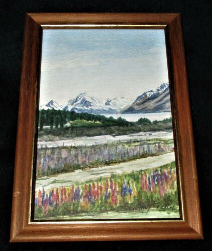 SIGNED WATERCOLOR Dorothy Terry NEW ZEALAND Mt. Cook Framed 4 3/4 x 6 3/4