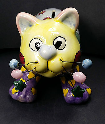 Ceramic kitten piggy bank patchwork kitty cat multi-color hearts flowers