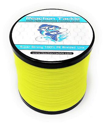 Reaction Tackle High Performance Braided Fishing Line / Braid - Hi Vis Yellow