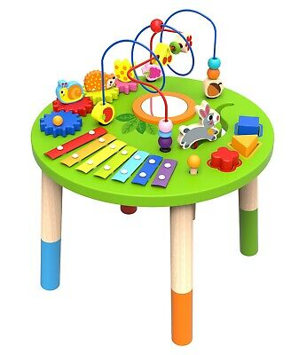Wooden Activity Table for Toddlers | Multi-Purpose Playset Easel with Bead Maze