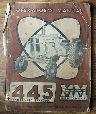 Minneapolis Moline 445 Powerlined Tractors Operators Manual