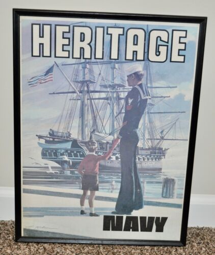 """Vintage 1973 US Navy USN """"Heritage"""" Recruiting Poster USS Constitution GPO"""