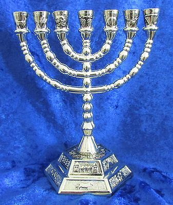 "12 Tribes Israel Emblems Jewish 7 Branch Silver Temple Menorah 5"" inches Tall"
