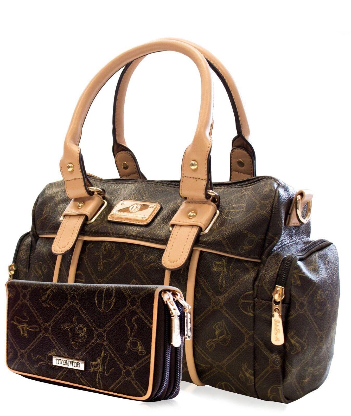 Giulia Pieralli Damentasche Handtasche + Geldbeutel Portemonnaie Braun  26119E