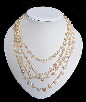 2 Interminable Collar de Perlas Cadena Perlas de Agua Dulce Collar Cadena