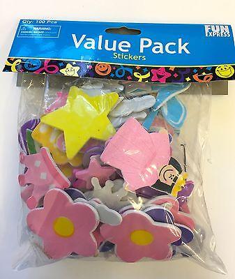 100 Fairy Princess Self Adhesive Foam Shapes Stickers Teacher Supply Castle