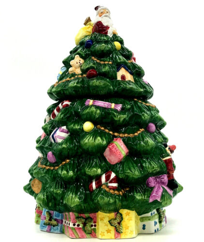 Spode Christmas Tree Cookie Jar With Lid Hand Painted Ceramic In Original Box
