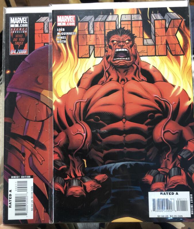 Hulk 1 & 2 First Red Hulk Cover High Grade 2008 Series