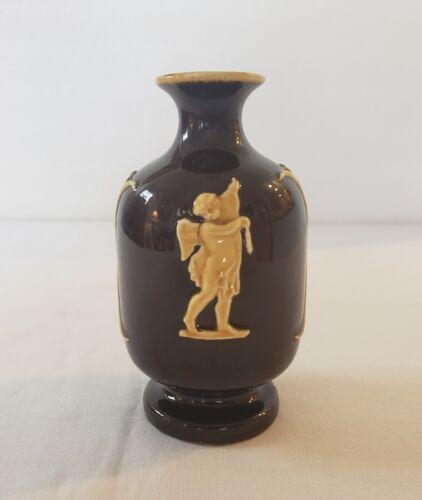"Antique Vintage Jasperware 5"" Bud Vase Glossy Cream Tan Cherubs On Dark Brown"