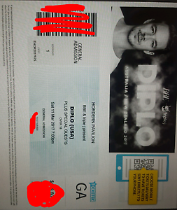 1x Diplo Ticket 11th March 2017 @ Hordern Pavilion Hughes Woden Valley Preview