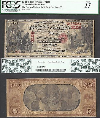 5 1874 National Gold Bank Note Rare Variety Ch 2158 San Jose  Ca Pcgs Fine 15