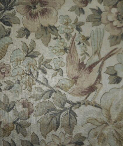 Vintage Floral Roses Bird Cotton Fabric ~ Soft Lavender Sage Gray Green
