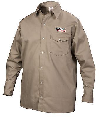 Lincoln Khaki Fire Retardant Fr Welding Shirt Size Medium K3382-m