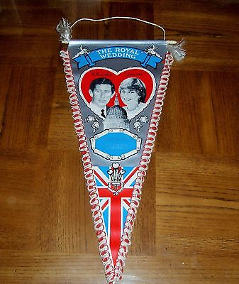EXTREMELY RARE ONE-OF-A-KIND-ROYAL WEDDING PENNANT-PRINCE CHARLES-PRINCESS DIANA