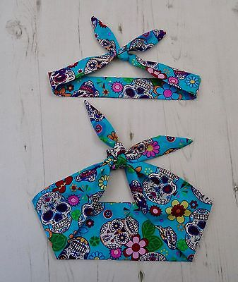 Matching Mum & Baby Head Scarf  Blue Mexican Candy Skull Tattoo Bandana Gift Set