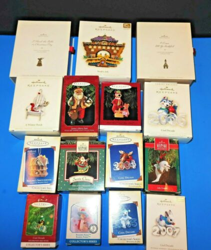 BARGAIN OFFER=LOT OF 15=HALLMARK KEEPSAKE ORNAMENTS=WITH BOXES=ASSORTED